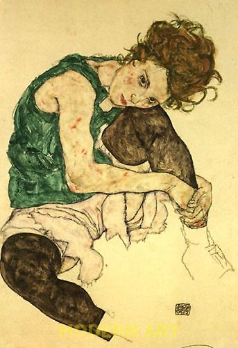 Schiele - Seated Woman with Bent Knee